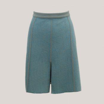 Binnenstebuiten Blue, grijsblauwe, halflange rok met split