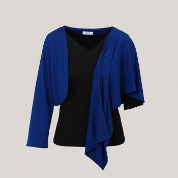 Koningsblauw omslagvest met één mouw over zwart V-hals shirt
