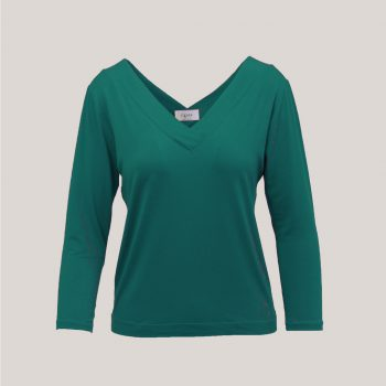 Donkerzeegroen V-hals shirt voor dames met driekwart mouwen