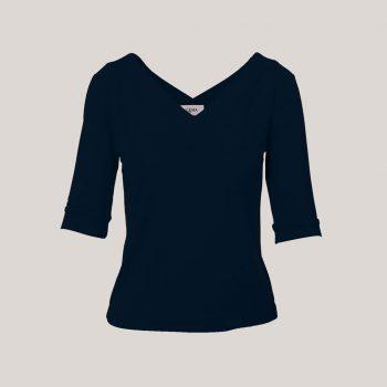 V-hals shirt dames donkerblauw