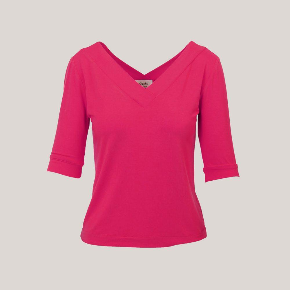 V-hals shirt dames fuchsia