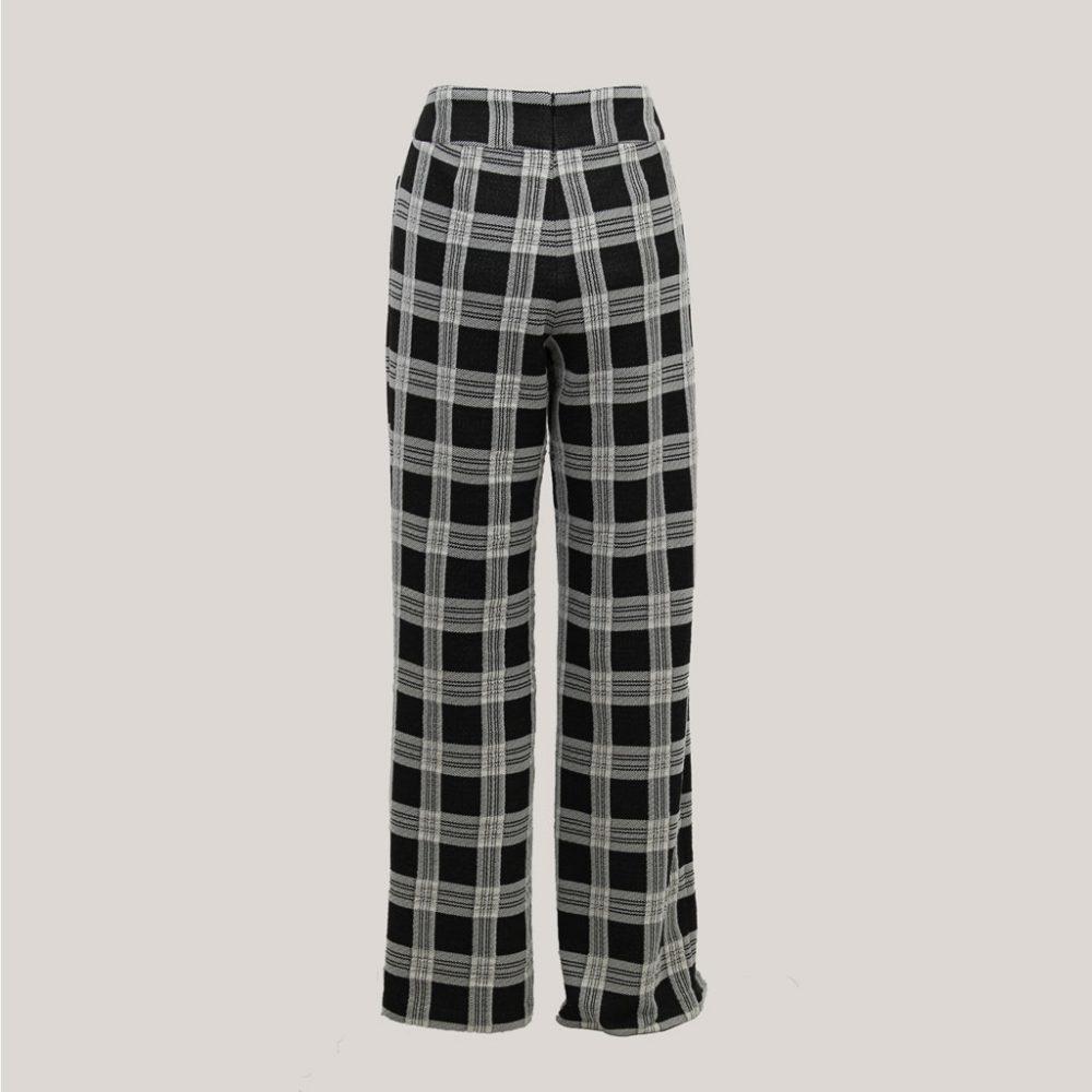 Blocked - Geruite broek met wijde pijp - Achter