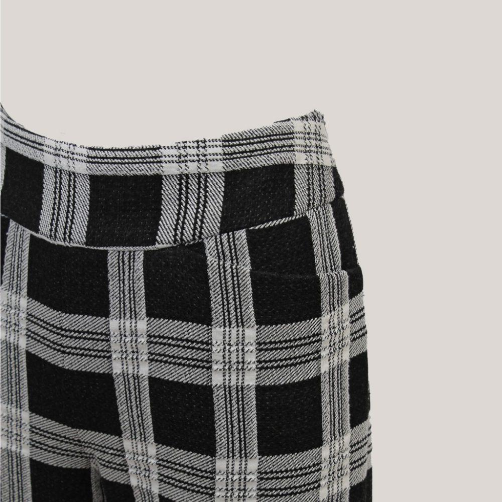 Blocked - Geruite broek met wijde pijp - Detail