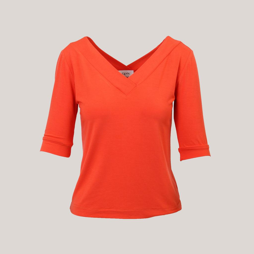 V-hals shirt dames koraalrood