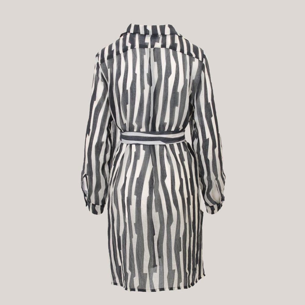 Tense - Lange blouse voor dames met ceintuur - Achteraanzicht