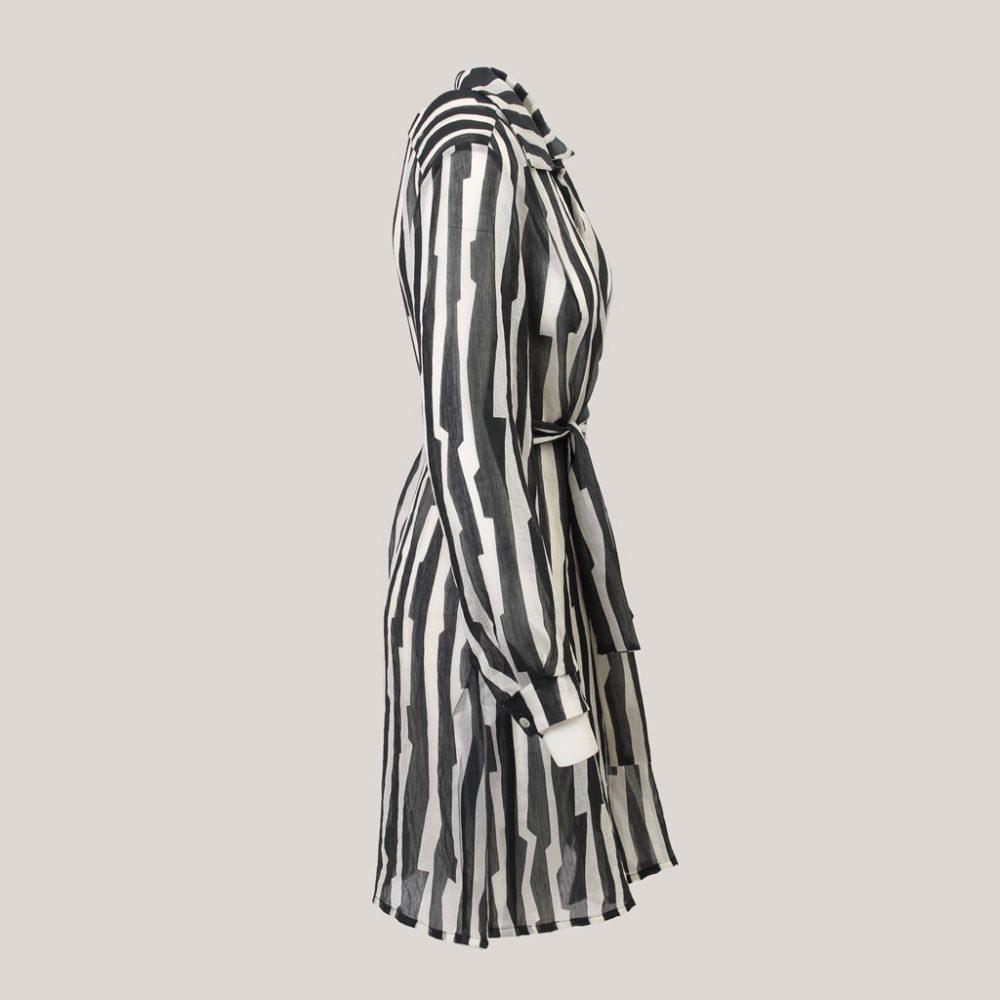 Tense - Lange blouse voor dames met ceintuur - Aanzicht rechts