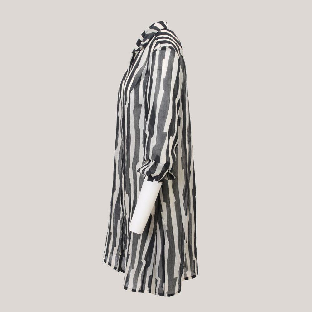 Tense - Lange blouse voor dames met ceintuur - Aanzicht links