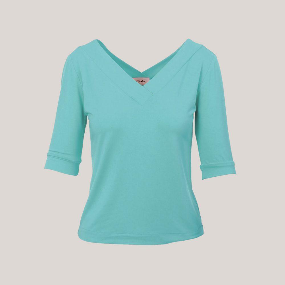 V-hals shirt dames lichtblauw