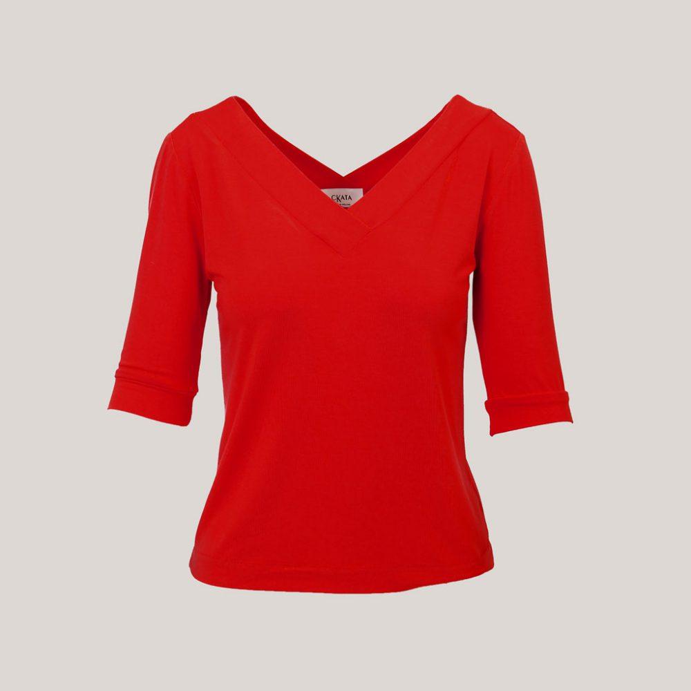 V-hals shirt dames rood