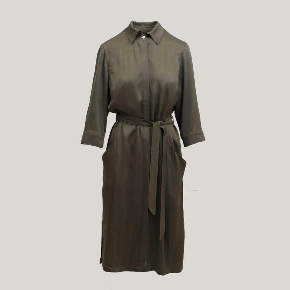 Olijfgroene robe manteau, vooraanzicht