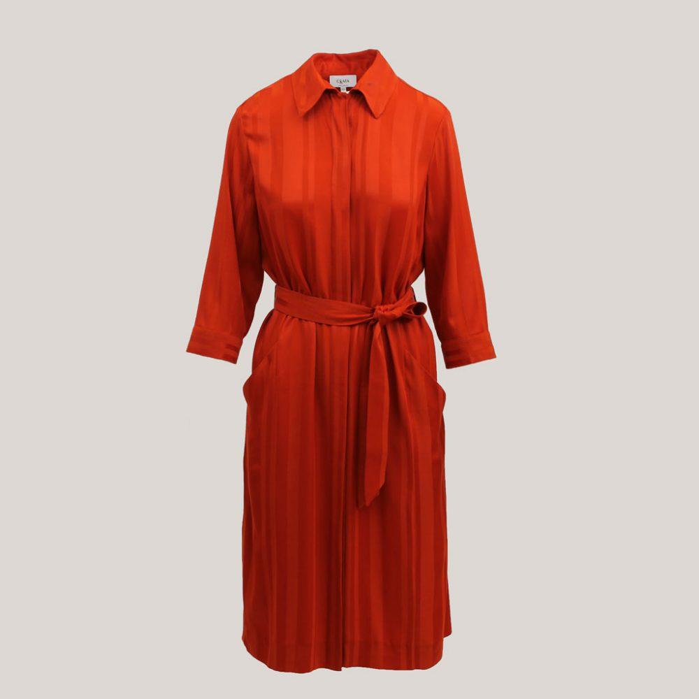 Rode robe manteau, vooraanzicht