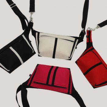 Heuptasjes in wit, rood, roze en zwart